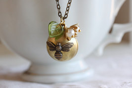 Bee Locket Necklace Ball Locket Secret Message Locket Keepsake Locket Necklace,  - $28.00