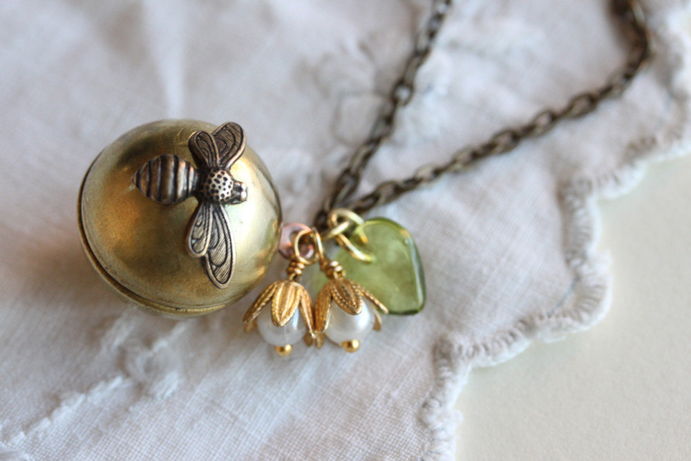 Bee Locket Necklace Ball Locket Secret Message Locket Keepsake Locket Necklace,