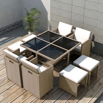 vidaXL Outdoor Dinning Set 21 Piece Poly Rattan Wicker Patio Garden Furn... - $482.99