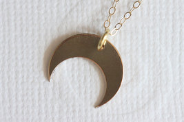 Downward Gold Crescent Moon Necklace  Gold Filled Everyday Jewelry - $32.00