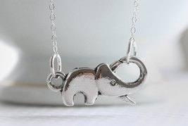 Tiny Elephant Necklace Sterling Silver - $26.00