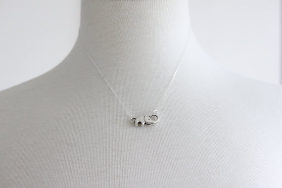 Tiny Elephant Necklace Sterling Silver