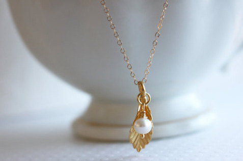 Small Gold Leaf Necklace  Gold Leaf And Pearl Necklace