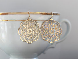 Gold Earrings  Filagree Disc Earrings  Dangle - $18.00