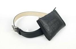 Steve Madden Embossed Black Belt Bag with Waist Strap Faux Leather New 7... - $35.63