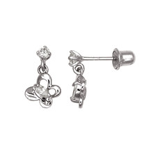 Children 14K Solid White Gold Butterfly Dangle Screw Back Earrings  - $64.99