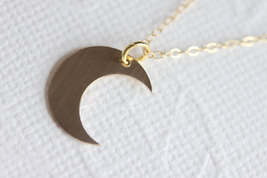 MOON Necklace - Gold Crescent Moon Necklace Crescent  - Lunar Necklace - $26.00