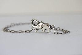 Small Elephant Bracelet Sterling Silver Elephant Bracelet - $32.00