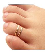 14K Yellow Gold Fn. 925 Sterling Silver Perfect  Adjustable Toe Ring Set - £9.70 GBP