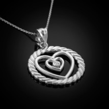 Sterling Silver Roped Circle Double Heart w/ CZ Pendant Necklace - €22,53 EUR+