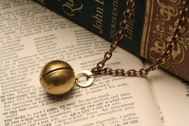 Ball Locket Necklace , Steampunk Jewelry, Brass Ball and Chain Locket - $25.00