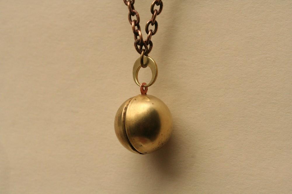 Ball Locket Necklace , Steampunk Jewelry, Brass Ball and Chain Locket