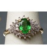 Natural Rare Green Tsavorite & Diamonds 10K Gold Ring - $429.00