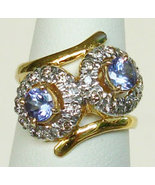 Sparkly Natural Violet Blue Tanzanite & Diamonds 14K Go - $499.00
