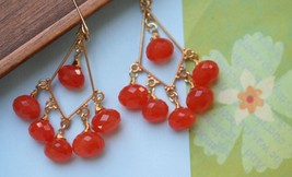Orange Chandelier Earrings Orange Stone Earrings Carnelian Earrings Orange Jewel - $68.00