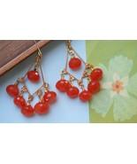 Orange Chandelier Earrings Orange Stone Earrings Carnelian Earrings Oran... - $68.00