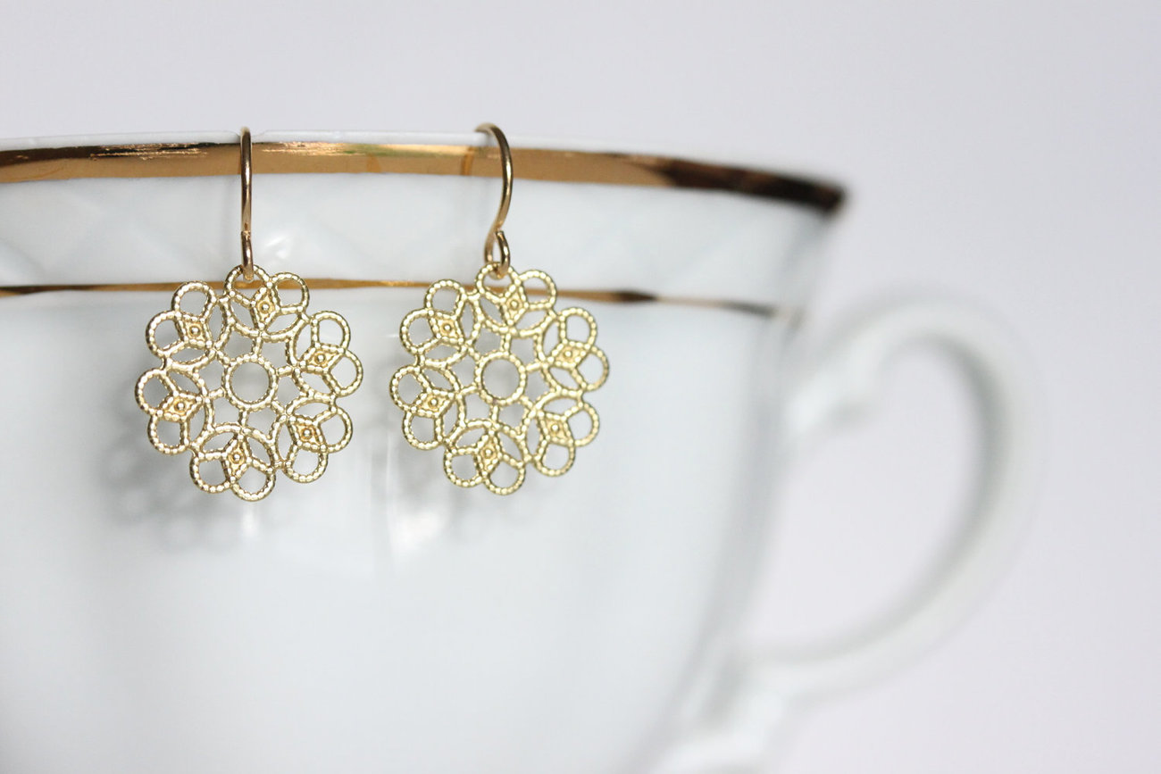 Small Gold Lacy Earrings - Tiny Cut Out Earrings - Gold Filagree Earrings - Bohe - $15.00