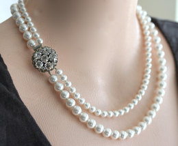 Pearl Necklace, Free Matching Earrings, Wedding Necklace, Rhinestone and Pearl N - $89.00