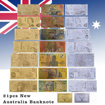 WR 21pcs New Australian Dollar Gold Silver Banknote $1-$100 AUD For Coll... - $24.29