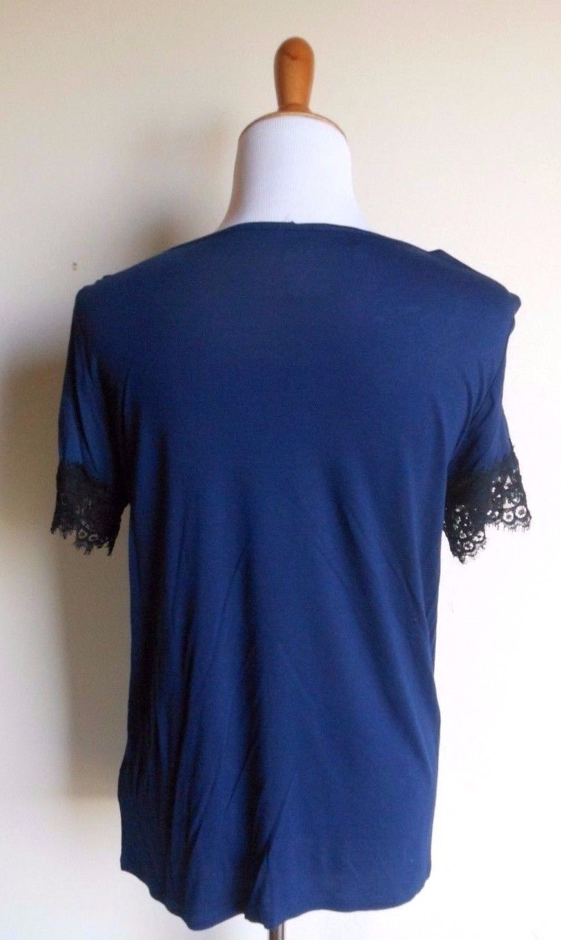 A.N.A. ~ MEDIUM BLUE BLACK LACE SHORT SLEEVE KNIT TOP