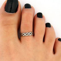 Platinum Plated Braided Style Adjustable Toe Ring - .925 Sterling Silver  - $18.99