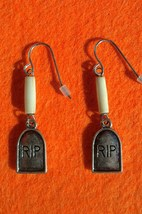 Halloween RIP Tombstone and Bone Earrings Hand Made In USA - $18.00