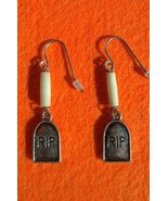 Halloween RIP Tombstone and Bone Earrings Hand Made In USA - $18.00