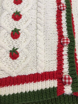 NWT Marisa Christina L Large Strawberry Patch Sweater Vest White Red Green image 2