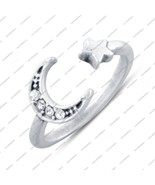 Round White Cz 14K Solid White GOLD 925 Sterling Silver Moon Star Toe Ring - £11.46 GBP