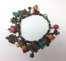 "Handmade Bracelet Charm 6.5"" Vintage Brass Metal Flower Teal Pink Yellow Stone - £14.99 GBP"