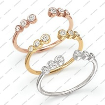14k Solid White, Yellow, Rose Gold Plated 925 Sterling Silver Bezel Toe ... - $25.99