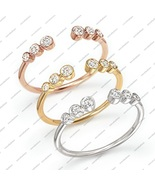 14k Solid White, Yellow, Rose Gold Plated 925 Sterling Silver Bezel Toe ... - £11.46 GBP