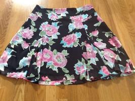 Chaps Floral A Line Pink Black Flutter Skirt Sz XL - $14.01