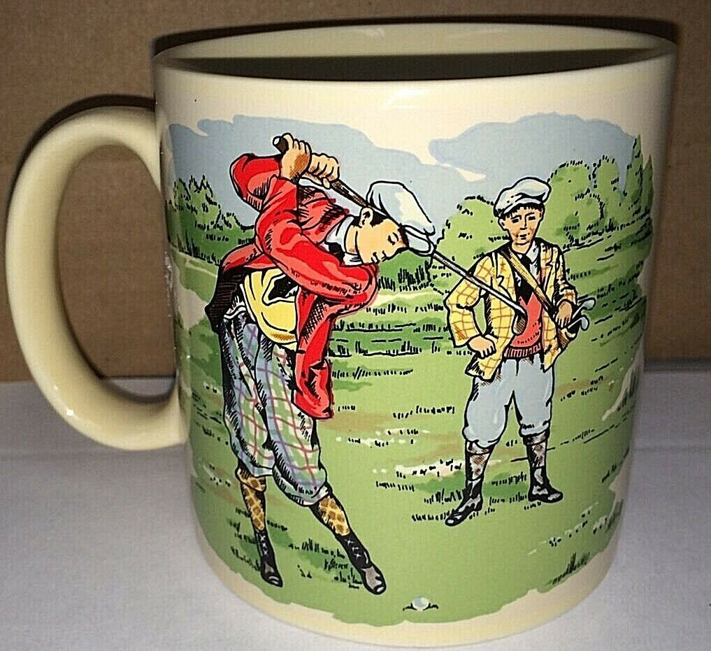 Primary image for Russ Berrie & Co. Victorian Golfer Golf Coffee Mug Cup Old Fashioned Vintage