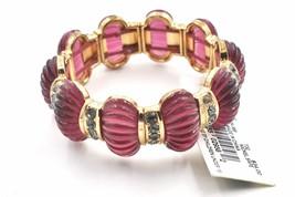 Napier Ribbed Stretch Bracelet Simulated Crystals Translucent Purple - $18.79