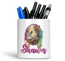 Personalised Any Text Name Ceramic Wolf Pencil Pot Gift Idea Kids Adults 12 - $12.89