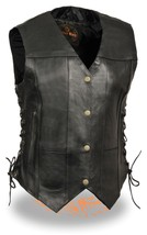 WOMEN'S MOTORCYCLE BLACK 7 POCKET LEATHER VEST ... - $54.99 - $67.99