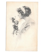 1912 Beautiful Woman Roses Vintage Schlesinger Glamour Postcard Lithograph - $4.99