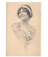 1912 Beautiful Woman Smiling Vintage Schlesinger Glamour Postcard Lithog... - $6.69