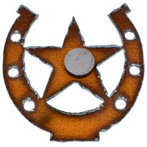 """Country Western Rusted Patina Iron Metal Cutout Lucky Horseshoe Star 3.5"""" Magnet image 2"""