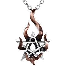 Alchemy Gothic Stella Igneus Flaming Pentagram Pewter Pendant Necklace - $19.45
