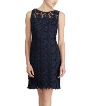 Lauren Ralph Lauren Womens Floral Lace Yoke Sleeveless Navy Dress 0, 2603-3 - €65,28 EUR