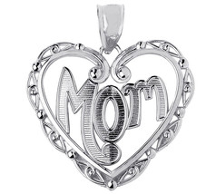 Mothers Day Gifts Sterling Silver Mom Charm Pendant with Fancy Open Hear... - $19.59