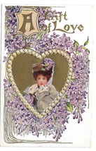 Beautiful Woman in Heart A Gift of Love Vintage Embossed Gilt Valentine ... - $6.69