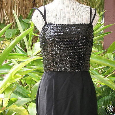 Primary image for Mod Vintage Carol Craig 60s Sequin Maxi Gown Formal Dress Sequined Sheath Gown
