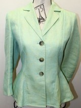 Anne Klein Linen Women Blazer Lime Green 3 Bottons Linen Silk Sz 4 Korea - $51.06