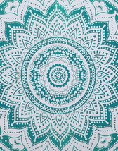 """90""""X108"""" Flower Mandala Tapestry Queen Size Teal Ombre Dorm Decor Wall H... - $24.09"""