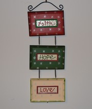 Faith hope love wall sign, wall hanging, Christmas sign, holiday sign - $15.00
