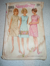Vintage 1967 Simplicity Juniors' & Miss Size 14 Dress Pattern # 6965 - $4.99