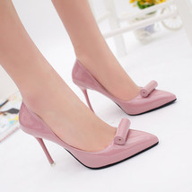 pp094 Elegant sharp headed pumps with a rolling top,size 35-39, nude - $48.86